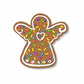Christmas Gingerbread Sprinkles Grainy. Sweet Confetti On White Chocolate Glaze And Christmas Ginger poster
