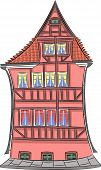 Vector Illustration. Red Facade Of A Half-timbered Medieval House With A Tiled Roof. Copenhagen. Den poster