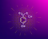 Chemical Formula Line Icon. Halftone Pattern. Chemistry Lab Sign. Analysis Symbol. Gradient Backgrou poster
