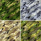 Seamless vector backgrounds - military camouflage fabric