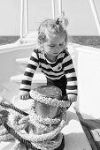 Child Sailor. Boy Sailor Travelling Sea. Boy Sailor Striped Shirt Sea Yacht Travel Around World. Lit poster