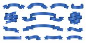 Blue Ribbons. Realistic Ribbon Banners Vector Collection. Illustration Flag Ribbon Banner, Blue Real poster