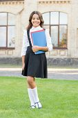 Good Study Habits. Happy Little Girl Hold Study Books For School Lessons. Cute Small Child Smile Wit poster