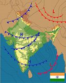 Weather Map Of The India. Meteorological Forecast On Physical Map Background. Editable Vector Illust poster