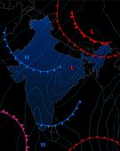 Weather Map Of The India. Meteorological Forecast On A Dark Background. Editable Vector Illustration poster