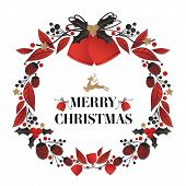 Christmas Wreath Decorated Of Christmas Bells With Holly Berries Branch And Ribbon, Pine Nut, Leaves poster