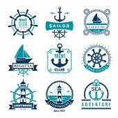 Marine Labels. Nautical Logo Sailing Boats Rope And Marine Knot Framed Vector Badges. Illustration M poster