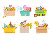 Toys Box. Children Toy Cars Rocket Soccer Bear Gifts For Kids Vector Packages Collection. Toy Box Wi poster