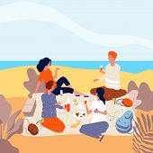 Picnic Seaside. Family Relax At Summer Beach Outdoor People Beverage Dinner Funny Adults Picnic Vect poster