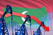 Maldives Oil Industry Concept, Industrial Illustration - Lowering, Falling Graph On Maldives Flag Ba poster