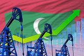 Maldives Oil Industry Concept, Industrial Illustration - Growing Graph On Maldives Flag Background.  poster
