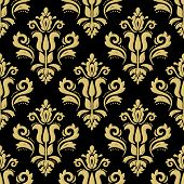 Classic Seamless Vector Pattern. Damask Orient Ornament. Classic Vintage Black And Golden Background poster
