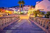 Korcula Town Gate Stone Steps And Historic Architecture Evening View, Historic Tourist Destination I poster