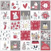 Christmas Advent  Calendar In Hand Draw Style. Count Down Till Christmas Kit. Twenty Five Christmas  poster