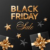 Square Social Media Post Or Banner Vector Template. Black Friday Golden Lettering On Black Backgroun poster