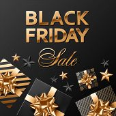 Black Friday Sale Square Vector Composition On Black Background For Banner Or Social Network Post. G poster