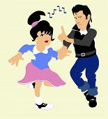 stock photo of poodle skirt  - Boy and girl doing the jitter bug to 50 - JPG