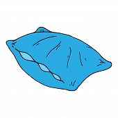 Vector Illustration Of A Pillow. Hand Drawn Feather Pillow. poster