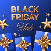 Black Friday Sale Golden Lettering On Royal Blue Gradient Background. Royal Blue Covered Gifts With  poster