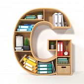 Letter G. Alphabet in the form of shelves with file folder, binders and books isolated on white. Arc poster