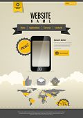 Touchscreen Mobile applications. Smartphone. Website template Retro style. Yellow Black.