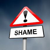 pic of shame  - Illustration depicting a red and white triangular warning sign with a shame concept - JPG