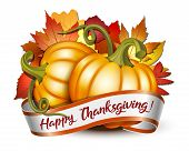 Thanksgiving Banner, Ribbon With Happy Thanksgiving Lettering And Orange Pumpkins poster