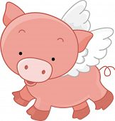 Illustration of a Winged Pig