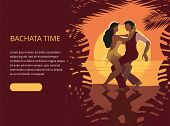 Beautiful Couple Dancing On The Beach Latin Salsa Bachata Dance. A Man In A Black Vest And Trousers, poster