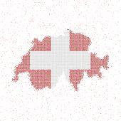 Map Of Switzerland. Mosaic Style Map With Flag Of Switzerland. Vector Illustration. poster