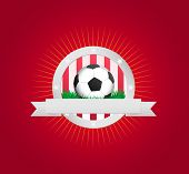 Red and white soccer badge