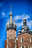 Historic Historic St. Marys Church In Cracow, Poland On A Warm Summer Day poster