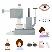 Vector Illustration Of Vision And Clinic Symbol. Collection Of Vision And Ophthalmology Stock Symbol poster