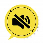 Black Speaker Mute Icon Isolated On White Background. No Sound Icon. Volume Off Symbol. Yellow Speec poster