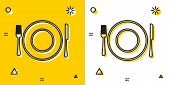 Black Plate, Fork And Knife Icon Isolated On Yellow And White Background. Cutlery Symbol. Restaurant poster