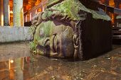 picture of cistern  - Medusa head at Underground water Basilica Cistern  - JPG