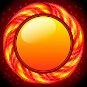 Burning round frame. Vector
