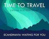Scandinavia Travel Banner Template - Scenic Landscape With Aurora Northern Lights And Labels And Off poster