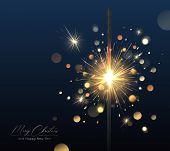 Merry Christmas Background With Realistic Sparkler And Light Effects. Vector Happy New Year Poster W poster
