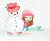 Girl and snowman on a skating rink