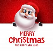 Santa Claus Vector Christmas Greeting Card Template. Santa Claus Character Holding White Board With  poster