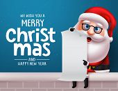 Christmas Santa Claus Vector Character Design Background. Santa Claus Sitting And Holding White Empt poster