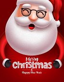 Santa Claus Christmas Character Vector Concept. Santa Claus With Long Beard Happy Talking With Merry poster