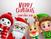Christmas Characters Vector Background Template. Merry Christmas And Happy Ne Year Greeting Text Wit poster