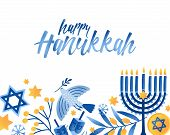 Happy Hanukkah Greeting Card Vector Template. Jewish Holiday Celebration Postcard Design. Menorah Ca poster