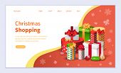 Christmas Shopping Vector, Winter Holidays Preparation. Tradition Of Gifts Exchanging. Buying Gifts  poster