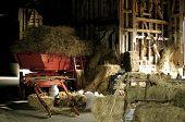 Red Cart In Rustic Barn