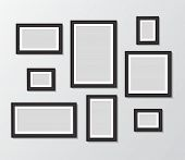Black Templates Photo Frame Hanging On Wall. Empty Picture Album Layout. Design Photo Frame For Post poster