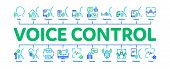 Voice Control Minimal Infographic Web Banner Vector. Voice Controlling Smart House And Car, Laptop A poster