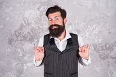 Say Ok To Better Smile. Bearded Man Smile On Abstract Wall. Happy Guy With White Smile. Hipster With poster